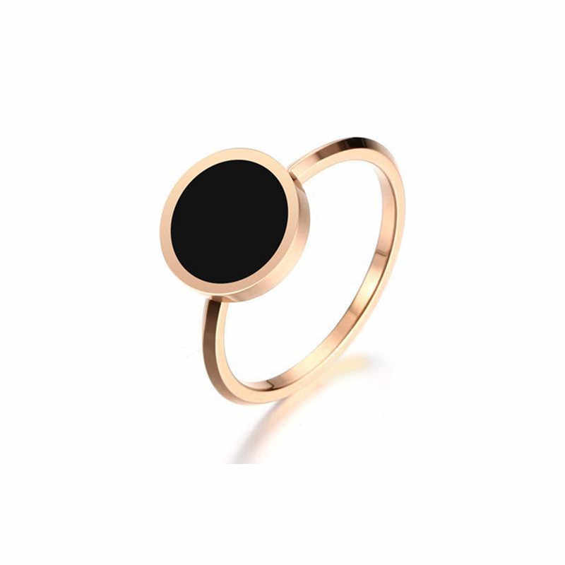 Fashion Wedding Ring for Women Minimalist Gold Color Round Acrylic Stone  Stainless Steel Rings Jewlery