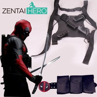 Free Shipping Wholesale Cool Black Leather Deadpool Suit Belt Accessories