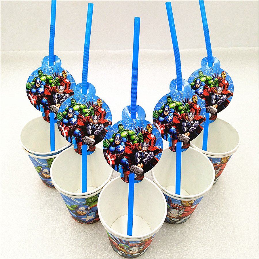 20p/set Avengers Party Decoration Disposable Tableware Superhero Drinking Straws Cups kids birthday Party Supplies