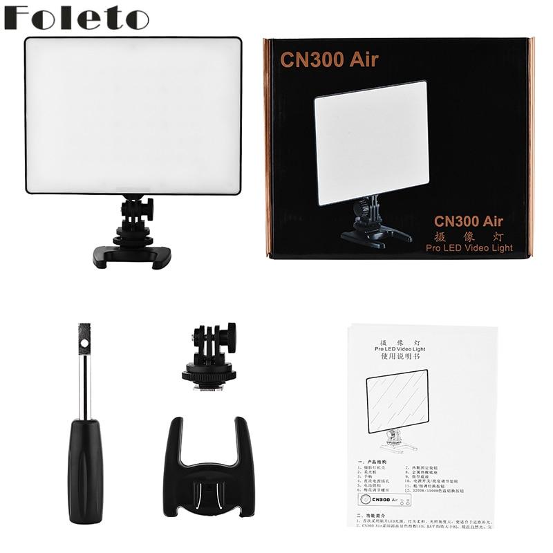 Foleto CN300 AIR LED Video Light CN 300 Air Pr Photography light for Nikon Canon DSLR DV Camcorder Cameras With Hot Shoe Adapter