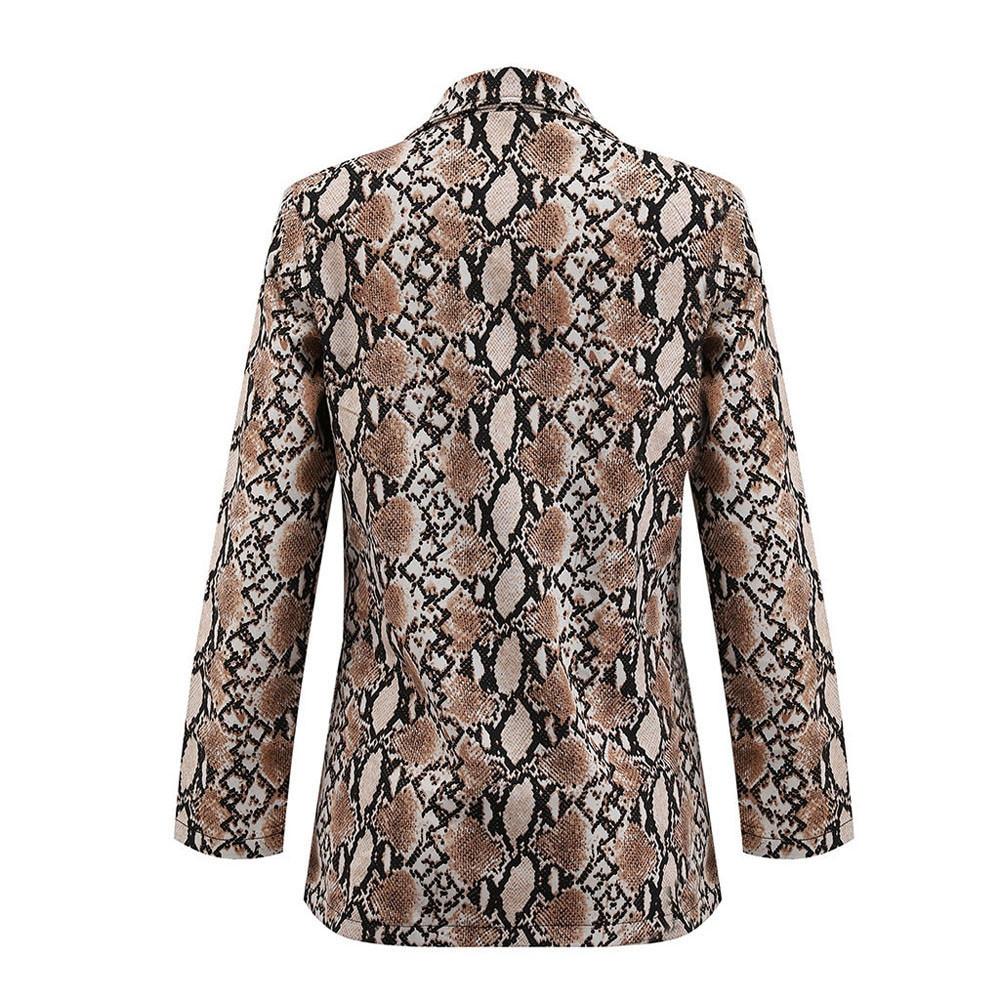 2019 Spring Women Snake Print Long Sleeve Blazer Jacket Outwear Tops Women's Snake Print  Suit Women's Coat
