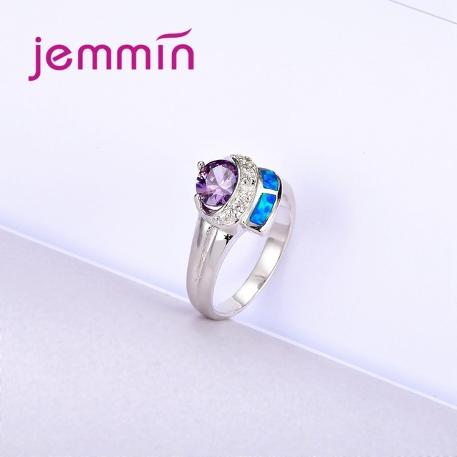Unique Design 925 Sterling Silver Crystal Rings For Women Wedding Jewelry Accessory Fine Bridal Band Finger Ring Lady
