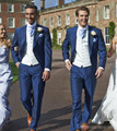 (Jacket + Pants + Vest) Boda Del Novio Slim Fit Azul Para Hombre Traje de Boda Trajes Para Hombres Traje Homme Chaqueta Floral