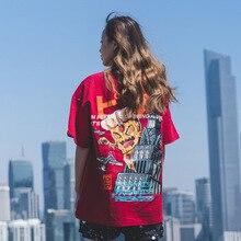 HFNF Mens / Womens hip hop tshirt round neck cotton red fashion Japanese Cartoon Devil Printed Retro Harajuku rapper shirt
