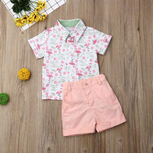 Pudcoco/2019 г., летняя рубашка для маленьких мальчиков из 2 предметов топы с Фламинго + короткие розовые штаны праздничная одежда, комплект джентльмена