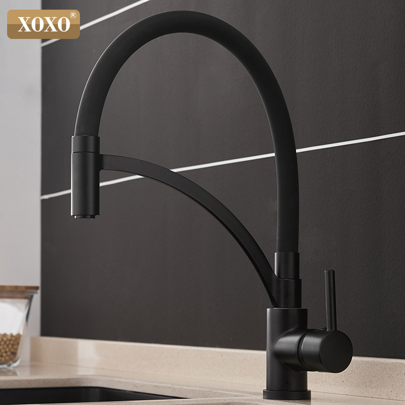 XOXO Kitchen Faucet Pull Down Cold and Hot Black Chrome Kitchen Tap Sink Deck Mounted Torneira Cozinha Mixer Water Taps 1303 deck mounted chrome brass kitchen faucet pull out sprayer vessel bar sink faucet hot and cold mixer tap torneira cozinha