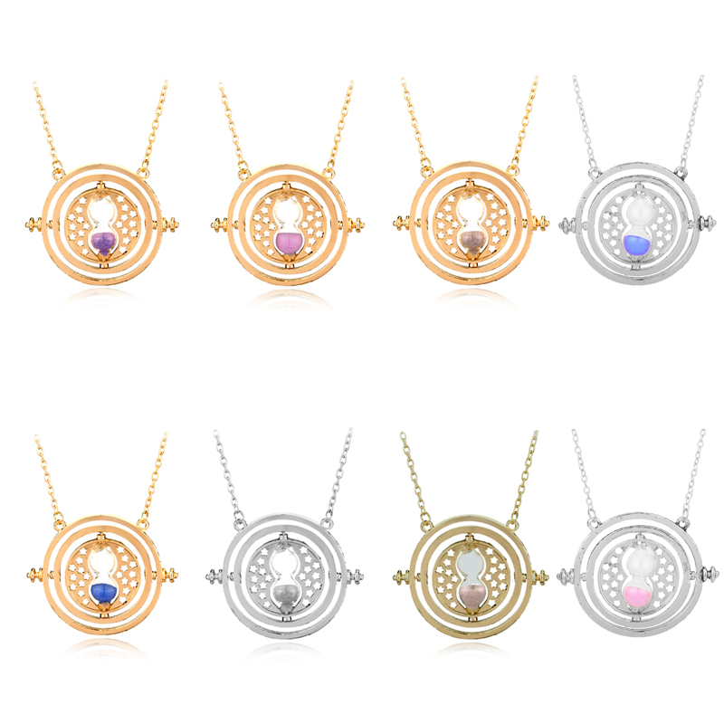 HANCHANG Fashion Jewelry Harry Time Turner Hermione Granger Rotating Spins Hourglass Pendant Necklace Women Men Cosplay Gift