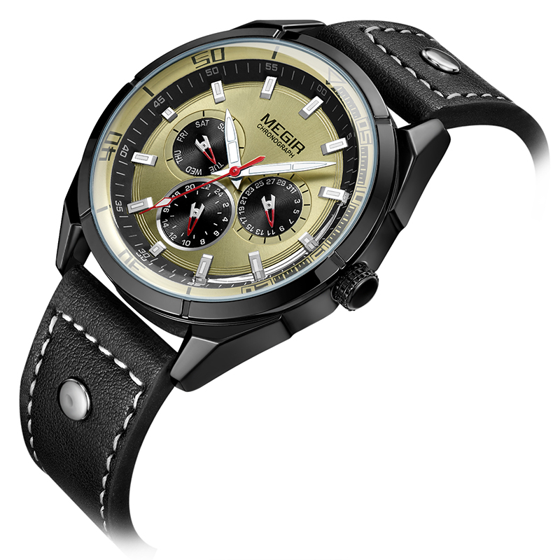 2018 Hot Sports Brand MEGIR Quartz Mens Watches Leather Strap Male Wristwatch Clock Relogio Masculino