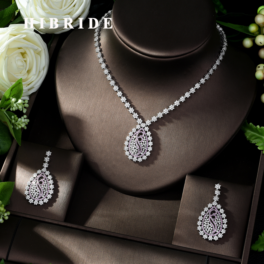 HIBRIDE Classic Micro Paved AAA Cubic Zirconia Jewelry Set Necklace Earring Set for Women Party Jewelry