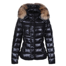 2016 Women Jacket White Duck Down Winter Coat Hooded Thick Fur Collar Down Parkas Slim Jackets Outwear Hat Zipper Coats