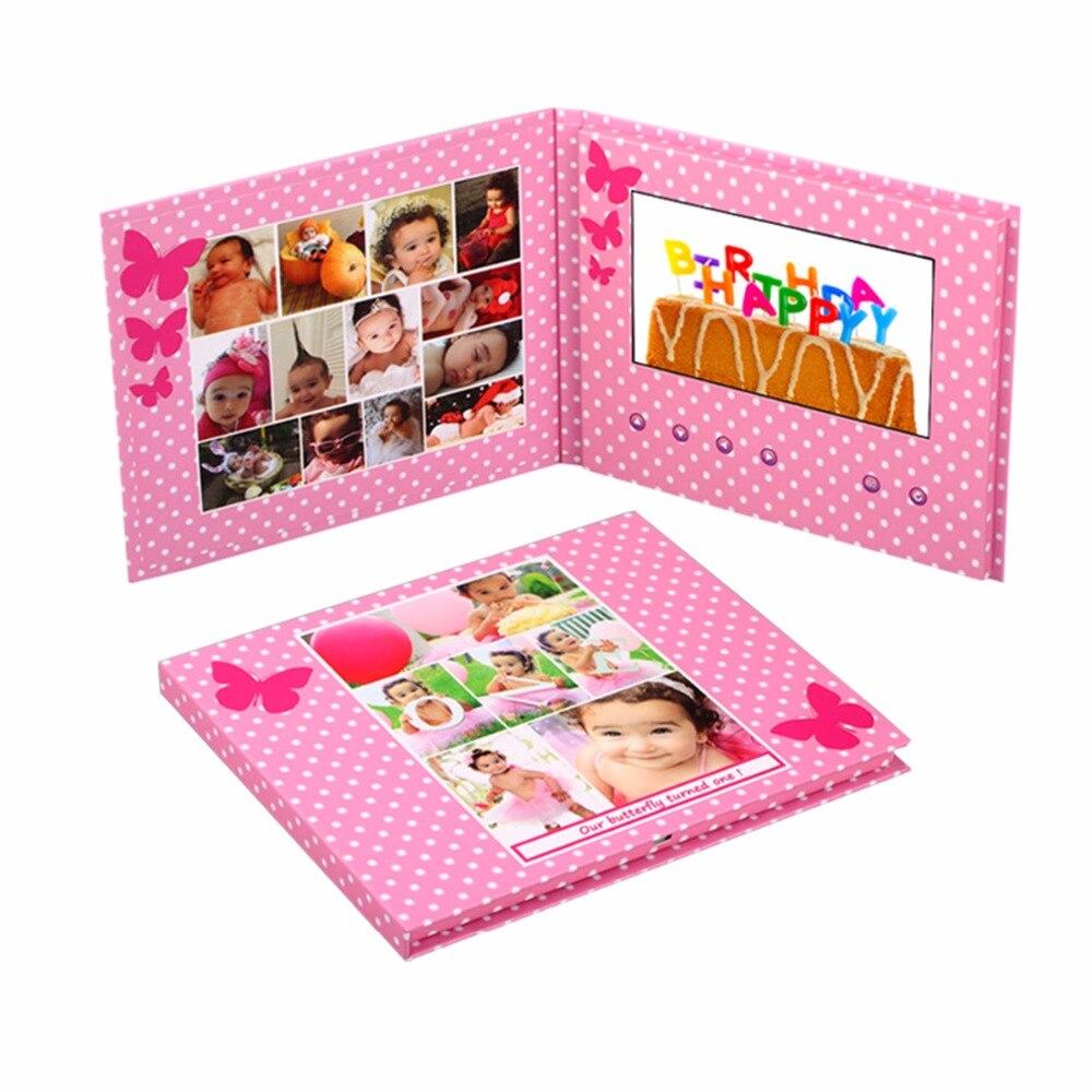 profession Universal Fashion free Design HD screen hardcover paper 7inch video Brochure handmade folder video card