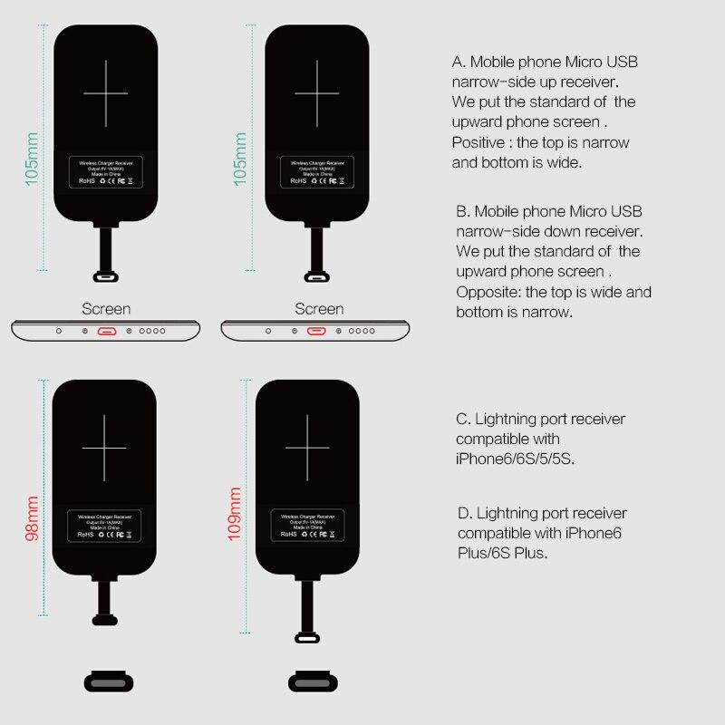 Para iPhone 6S/7/7Plus meizu oneplus funda Universal Qi Receptor de Cargador Inalámbrico adaptador de carga de receptor interfaz de Micro USB