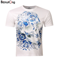 New 2017 Mens Fashion Flower Skeleton Simpson 3D Printed T Shirt Casual Short Sleeve O Neck