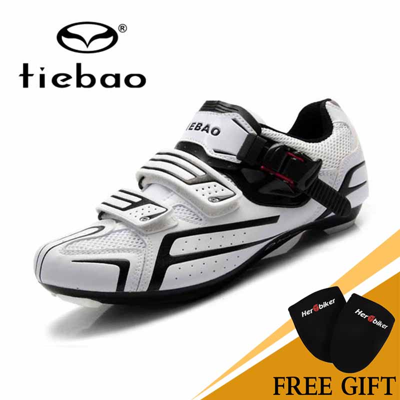 Tiebao Professional Road Shoes  With Fast Cycling Shoes MAGIC TAPE Fastener Road Bike Shoes PVC Shoe White TB16-B1268 new shengshou 10x10x10 magic cube professional pvc