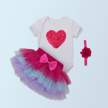 Christmas Child Lady 3pcs Clothes Units Toddler Cotton Romper+Tulle Skirt+Headband Halloween Costumes Get together Bebe Birthday Vestidos