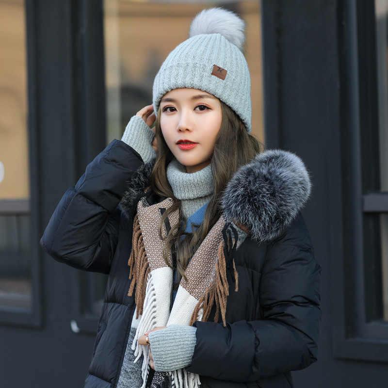 冬 3/セット帽子スカーフと手袋女性暖かいかわいいポンポンビーニーインフィニティスカーフミトン女性ニットキャップ厚い固体ファッション