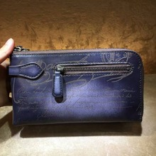 TERSE_China manufacturer mens womens clutch bag 3 zip lareg capacity wallet 3 colors vintage style top leather handmade clutch