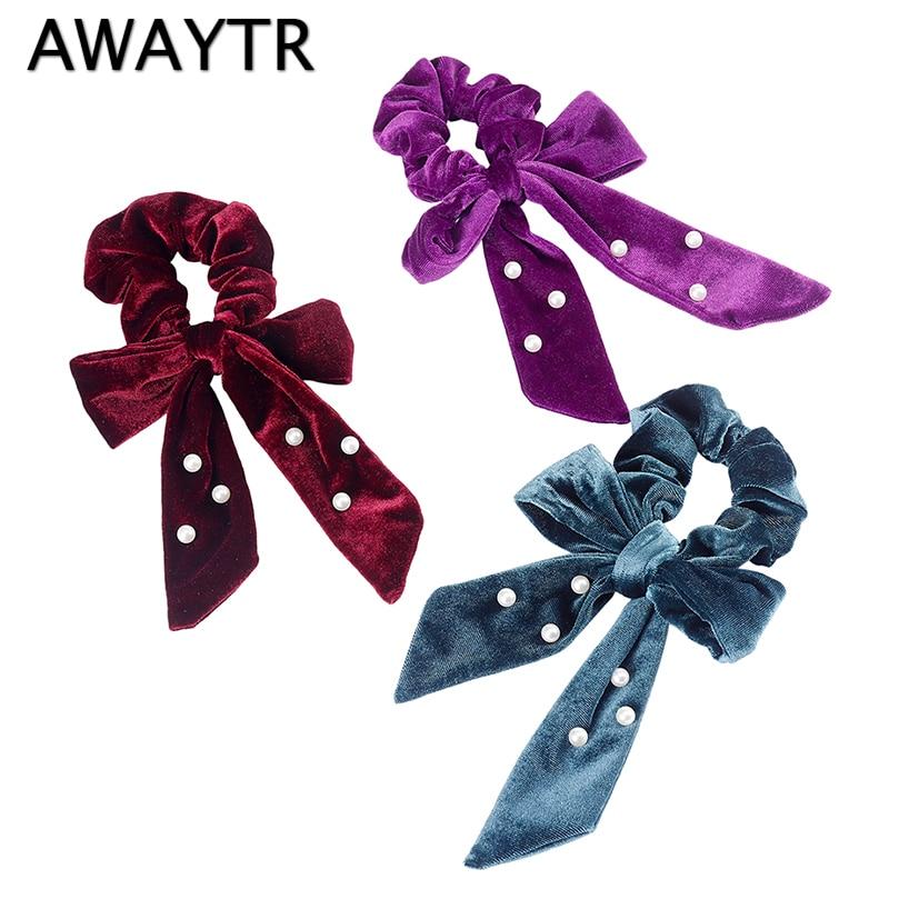 AWAYTR New Autumn Bow Hair Ring Women Headband Ribbon Velvet Pearl Knot Elastic Hairband Fashion Ladies Girls Hair Accessories