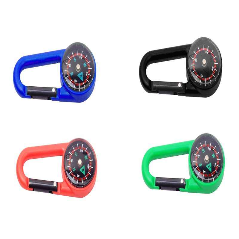 1pc Sturdy Plastic Compass Carabiner Keychain Waterproof Pocket Size Key Ring Decor Outdoor Camping Gear Adventure Survival