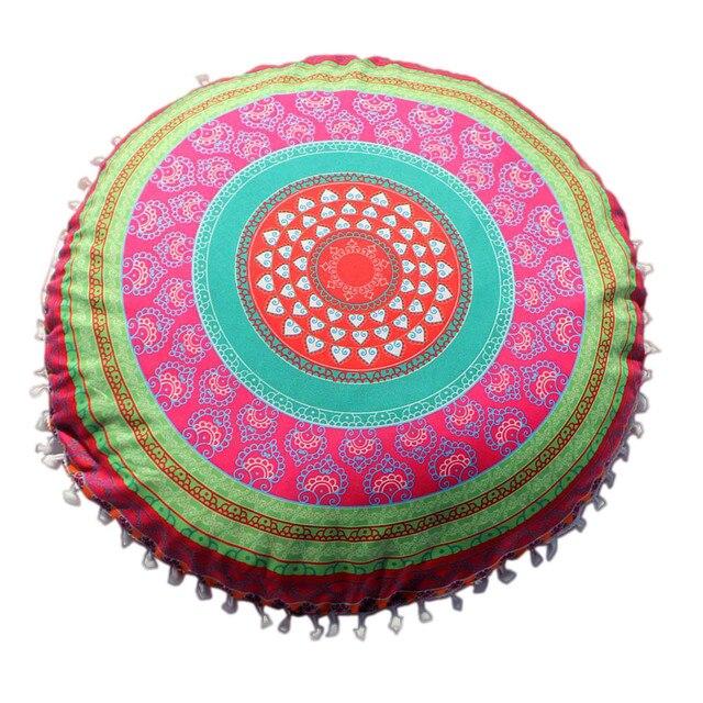 Gajjar Durável Ferramentas Indiano Mandala Almofadas Piso Rodada Boho Capa de Almofada Travesseiro Caso Cor Travesseiro Têxtil 43*43 CM dropshipping