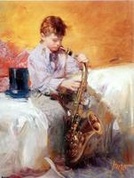 Famous Painter Pino Oil Painting Music Boy Impression Portrait For Home Decoration Wholesale And Customized