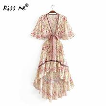 купить Beach Dress Floral Printed Deep V Front Slit Knot Sexy Beach Dress Irregular Short Front Long Back Hollow Summer Tunic Dress по цене 1436.08 рублей