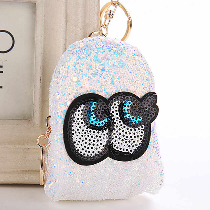 Cute Big Eyes Mini Coin Purse Keychain Glitter Pompom Sequins Key Ring  Gifts Llaveros Mujer Charms 3f1d54927f54