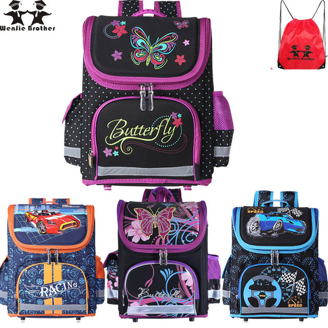 d7106f017419 placeholder wenjie brother Kids butterfly Schoolbag Backpack EVA Folded  Orthopedic Children School Bags For Boys and girls