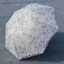 Lace UV Protection Women Umbrella Flower Girl Female Windproof Waterproof Sun Sunny Rainy Summer Pocket Umbrella Travel Parasol