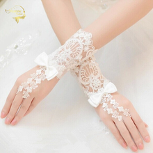 Bride short design of luxury lace beaded gloves the bride married banquet accessories G025