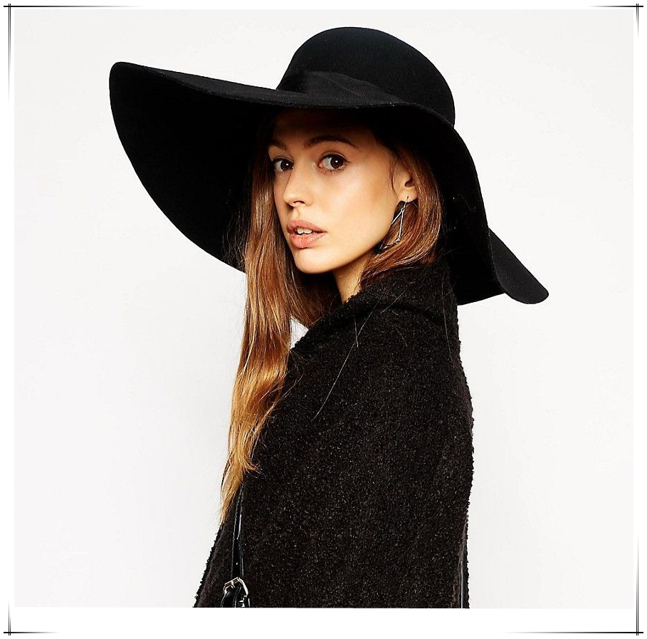 8031f513 Women Black Large Wide Brim Autumn Sun Cap Wool Felt Floppy Hat-in Women's  Fedoras from Apparel Accessories on Aliexpress.com | Alibaba Group