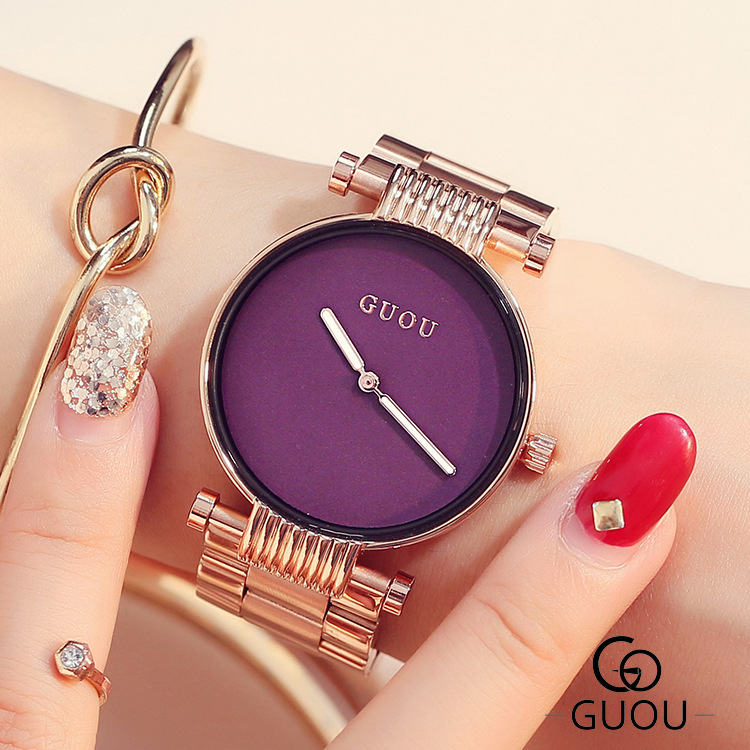 AAA Top Brand GUOU Fashion Trendy Simple Style Women Quartz Watch Rose Gold Full Steel Ladies Female Dress Watches Wristwatch free shipping winter newborn infant baby clothes baby boys girls thick warm cartoon animal hoodie rompers jumpsuit outfit yl