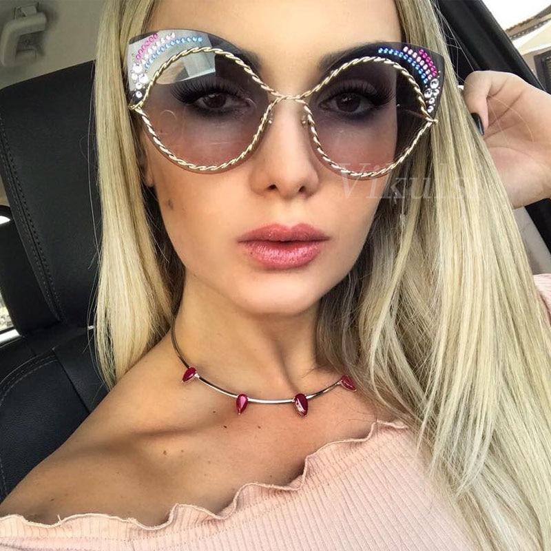 70a112b9b2f 2017 Cat Eye Luxury Women Sunglasses Vintage Diamond Brand Designer Fashion  Retro Clear Transparent Ladies Sun glasses Female
