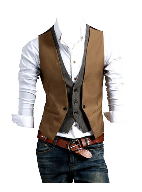 New Mens Slim Fit Contrast Waistcoat double layered design Casual Vest