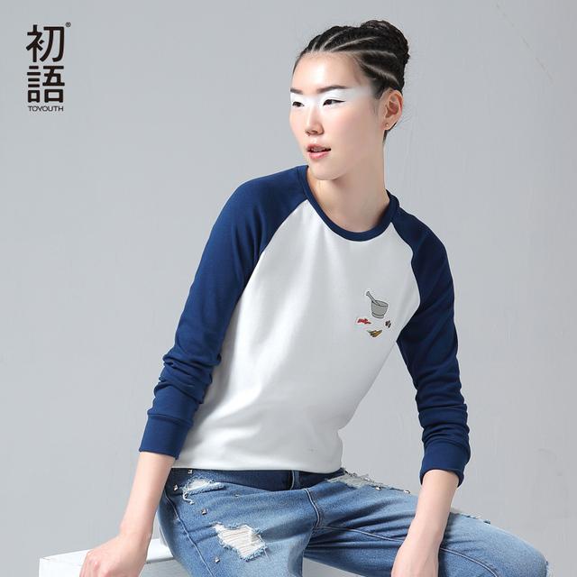 Contraste de color patchwork bordado toyouth camiseta femme 2017 otoño patrón cuello redondo camiseta básica tops