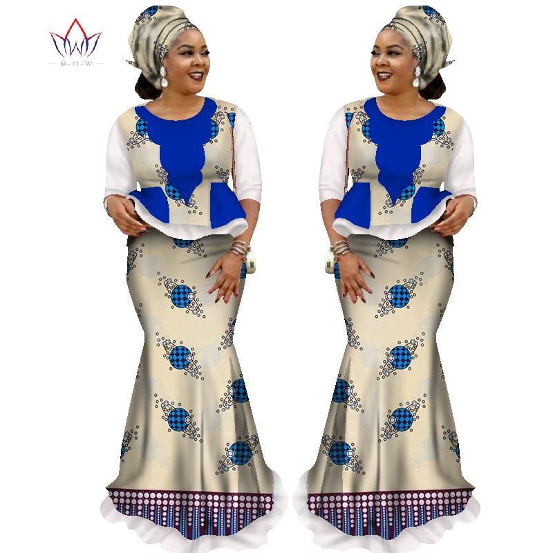 2019 jupe africaine ensembles pour femmes Dashiki demi manches hauts et jupe afrique cire imprimer vêtements grande taille jupe costumes AT1681
