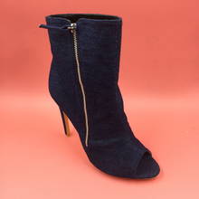 Blue Denim Women Boots Ankle High High Heels Peep Toe Real Photo Shoes Women Shoes China Work Boots Side Zipper New Arrival 2016