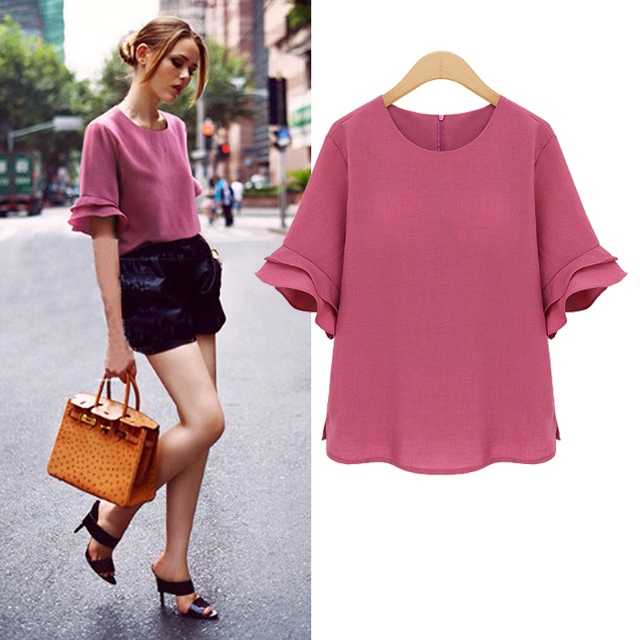 9d4e1979fa Plus Size L 5XL Summer Blouse For Big Women Solid Chiffon Shirt No Lining  Butterfly Sleeve Ruffles Loose Tops Back Zipper T75202-in Blouses & Shirts  ...