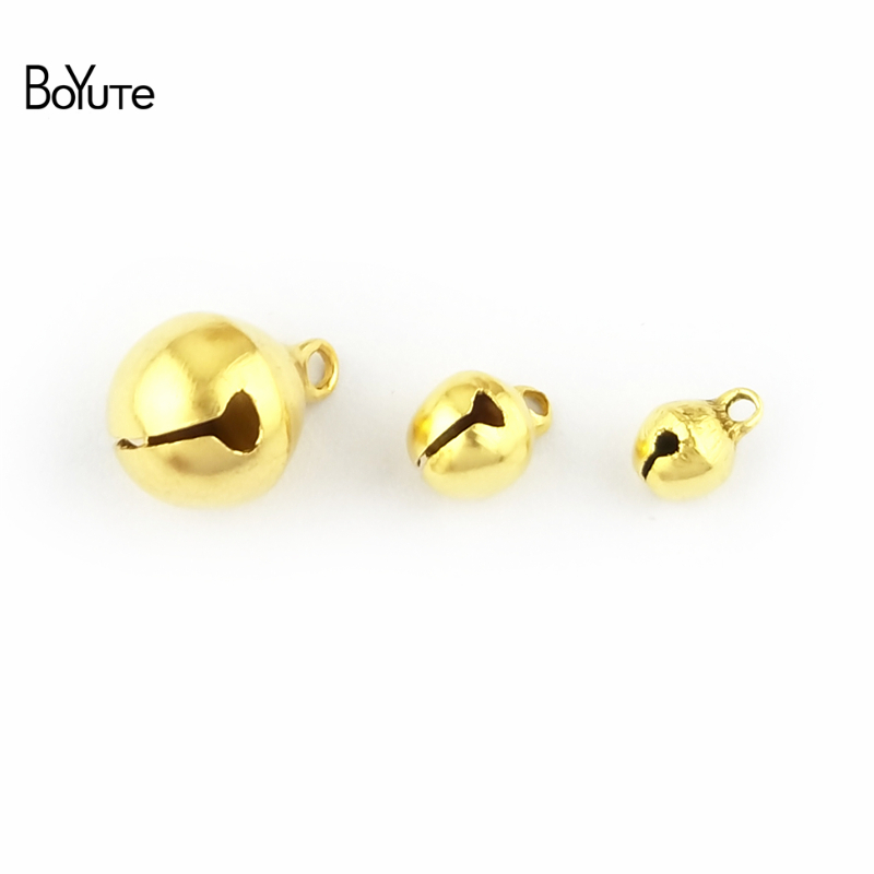 BoYuTe 200Pcs Metal Brass 6MM 8MM 10MM 12MM Small Bell Beads Tinker Bell Christmas Jingl ...