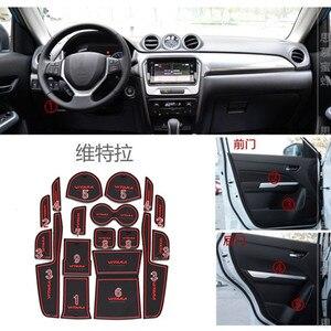Image 1 - Per 2015 2016 2017 Suzuki vitara Gate Slot Pad antiscivolo Cup mat s antiscivolo porta Groove mat Sticker accessori auto