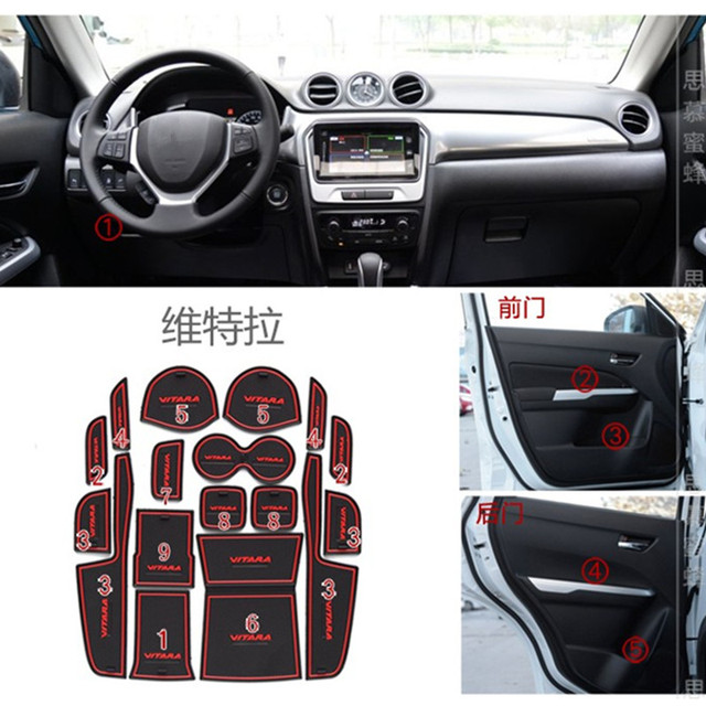 Per 2015 2016 2017 Suzuki vitara Gate Slot Pad antiscivolo Cup mat s antiscivolo porta Groove mat Sticker accessori auto