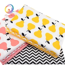 7pcs/lot,New Twill Cotton Fabric Patchwork Pear Tissue Cloth Fat Quarter Bundle Of Handmade DIY Quilting Sewing Textile Material(China)