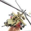 2017 Nuevo 658 Unids Building Blocks Establece Artillados Apache AH-64 Helicóptero Militar Del Ejército Con Sonido Luces Niños Juguetes Compatible Legeo