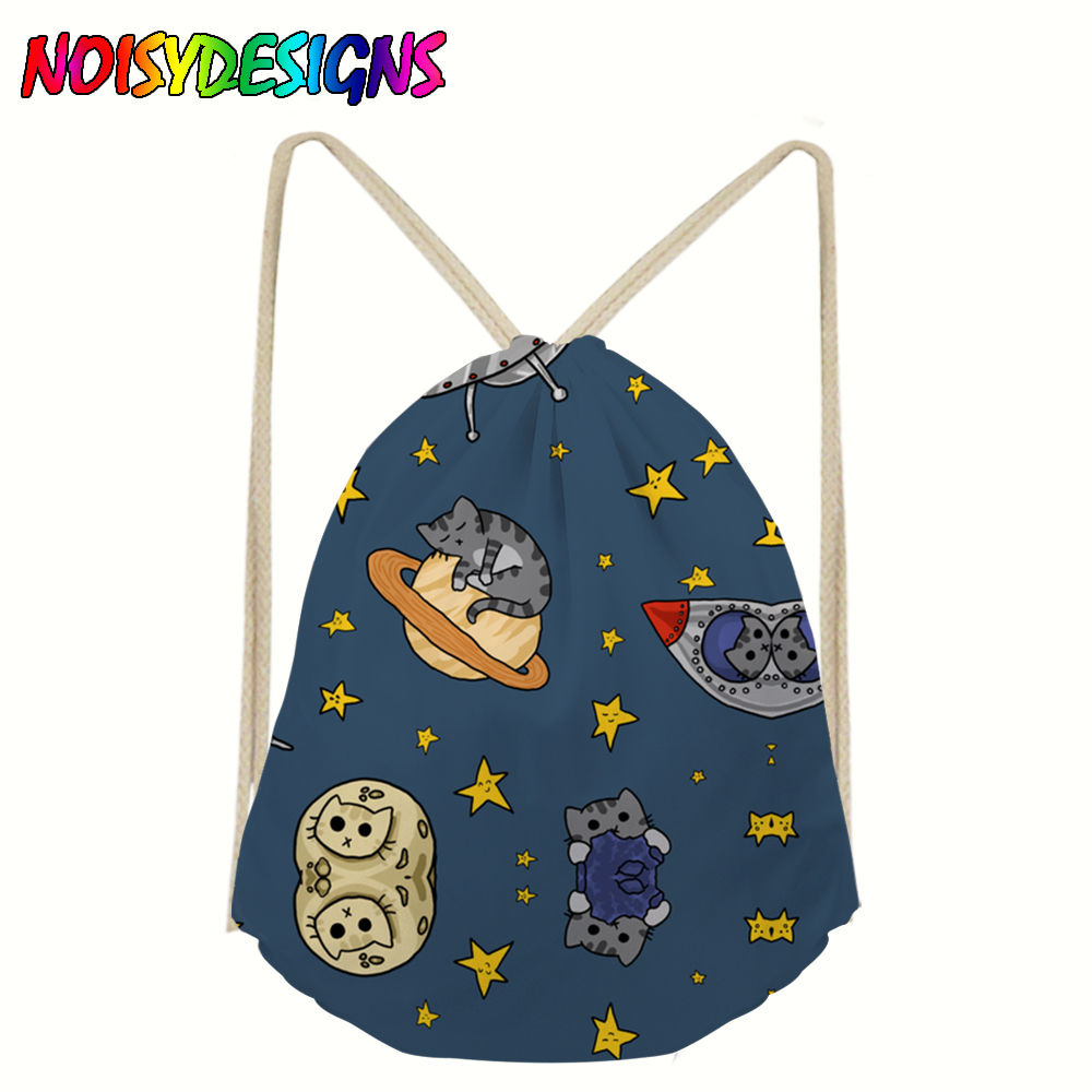 NOISYDESIGNS Travel Storage Package Space Cats Printing Drawstring Bags For Kids Girl Boy Animals Cat Piggies Drawstring Pouch