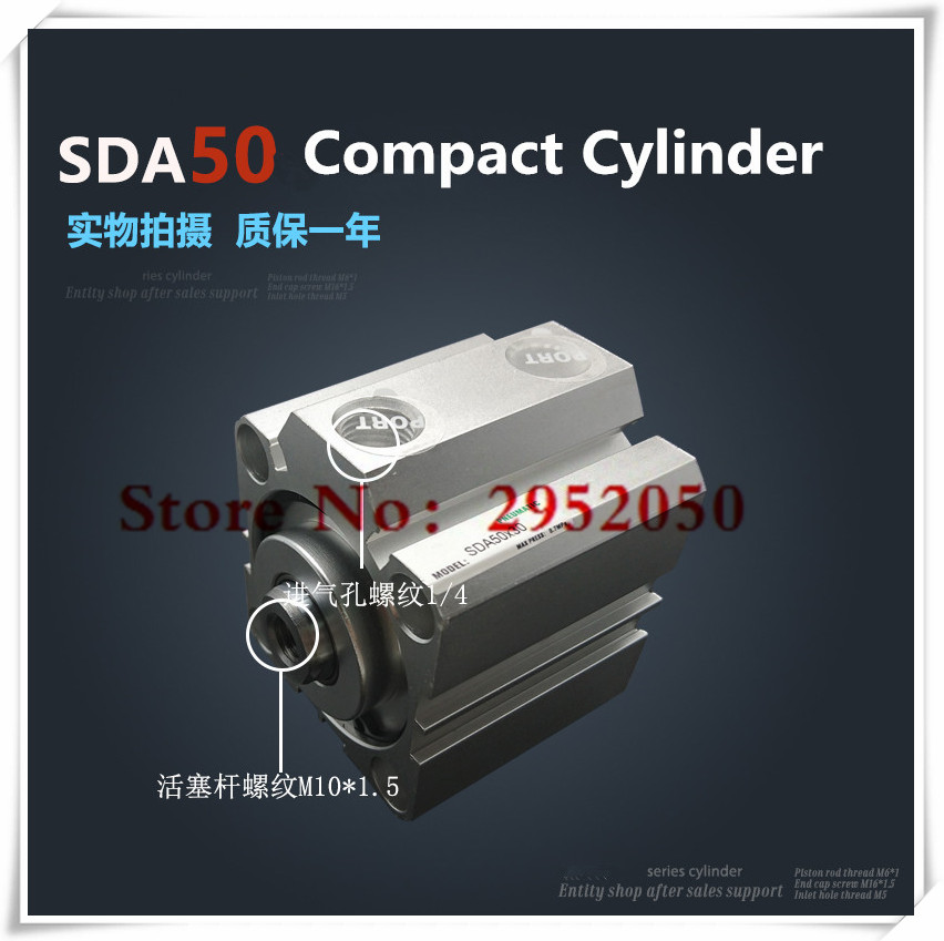 free 50 SDA50*50-S Free shipping 50mm Bore 50mm Stroke Compact Air Cylinders SDA50X50-S Dual Action Air Pneumatic Cylinder