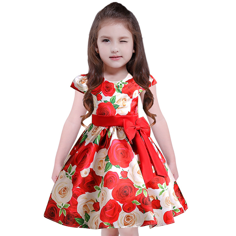 Children Girls Red Bow Party Dress Infant Flower Printed Princess New Year Costume Tulle Ball Gown Dresses Kids Summer Clothes new year gift for girls dresses kids dress children clothes infant costume girl wedding party baby girl princess flower dress