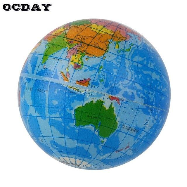 World Map Globe Ball. Mini Blue World Map Foam Earth Globe Stress Relief Bouncy Ball Atlas  Geography Toy TH092 Educational