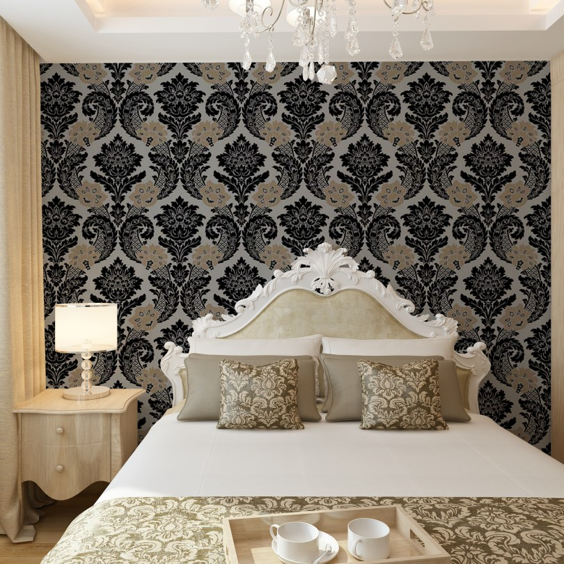 European style <font><b>italian</b></font> luxury wall paper for <font><b>home</b></font> <font><b>decoration</b></font> vinyl metallic textured damask wallpaper silver/black/white/grey