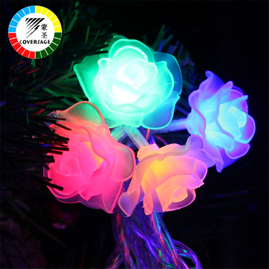 Kaaned 10M 100 Led String Garland Jõulupuu Rose Flower Fairy Light - Puhkusevalgustus - Foto 5