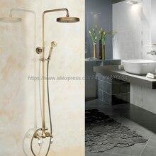 Antique Brass Shower Faucet Set 7.7 Inch Shower Head Hand Shower Sprayer W/ Hand Shower Wall Mounted Mixer Tap Nan104 polished chrome led rain shower head valve mixer tap w hand shower sprayer